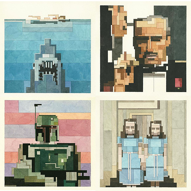 Pixelated Paintings by Adam Lister at werd.com