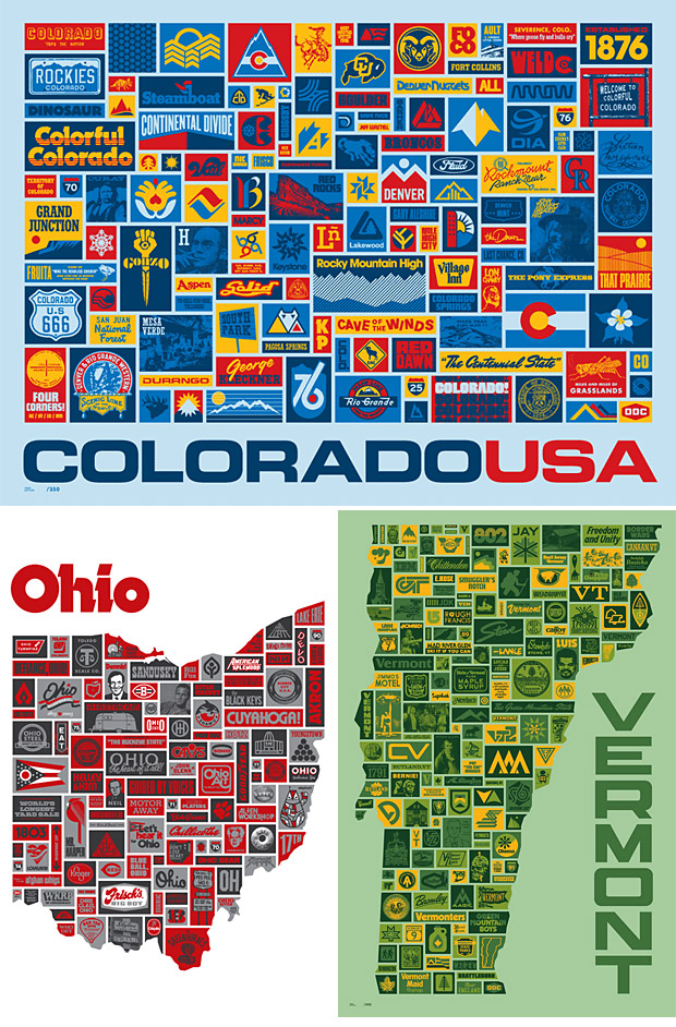 Aaron Draplin U.S. State Posters at werd.com
