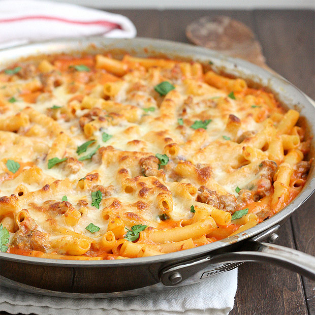 Skillet Baked Ziti with Sausage at werd.com