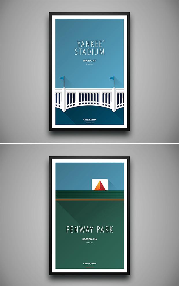 Minimalist Baseball Stadium Prints at werd.com