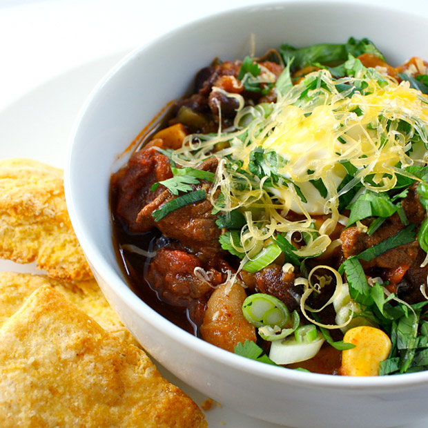Beef Chili with Poblanos and Beer at werd.com