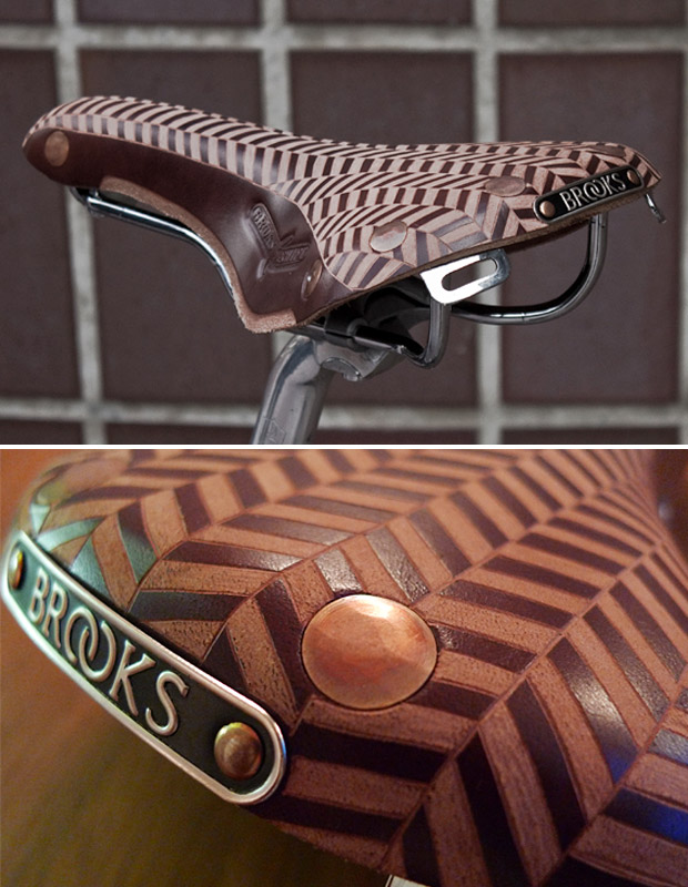 Tweed Run Custom Leather Engraved Brooks Saddle at werd.com