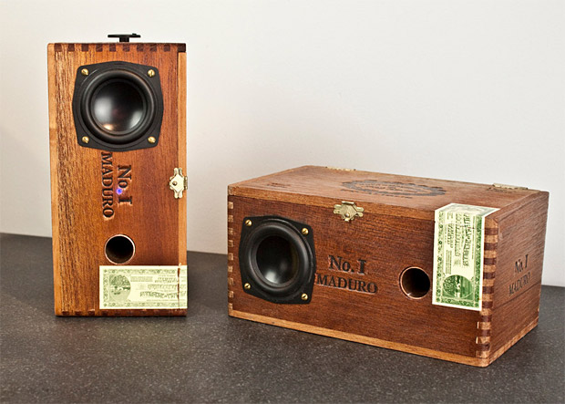 Custom Cedar Cigar Box Powered Speakers at werd.com