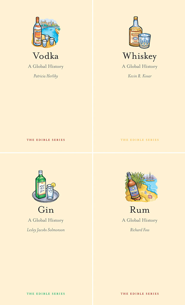 edible series global liquor history Gin, Vodka, Rum, Whisky Global History Books