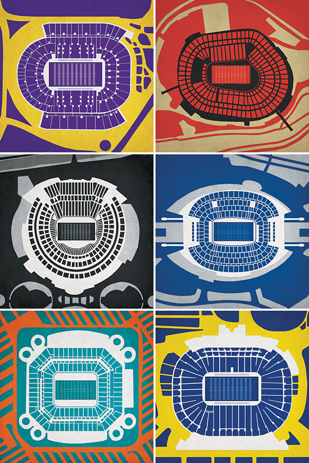 Pro &#038; College Football Stadium Prints at werd.com