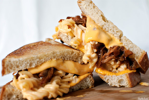 Grilled Mac and Cheese with Pulled Pork at werd.com