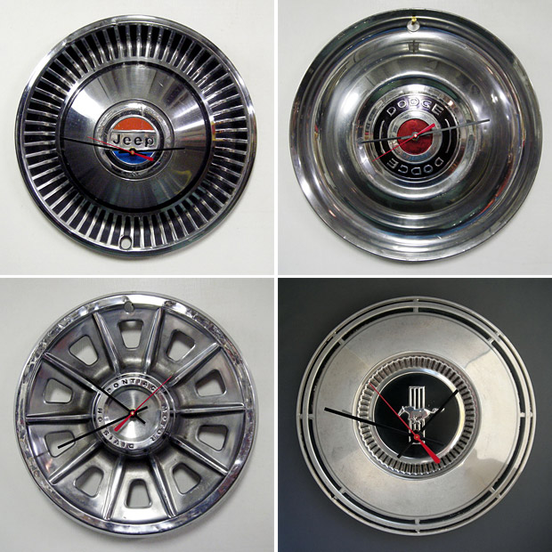 Recycled Hubcap Clocks at werd.com