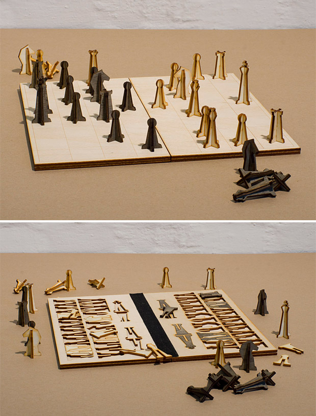 Laser-cut Birch Chess Set at werd.com