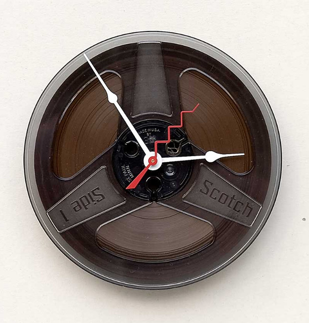 Recycled Magnetic Tape Reel Clock at werd.com