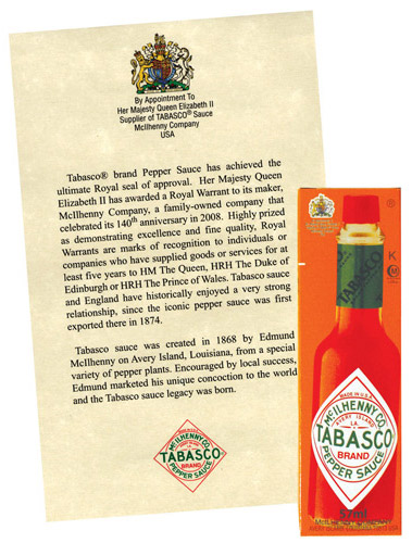 Queen&#8217;s Royal Warrant Original Tabasco Sauce at werd.com