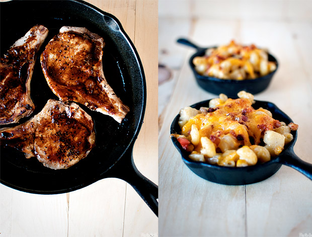 Whisky Glazed Pork Chops &#038; Corn Chowder Mac n Cheese at werd.com