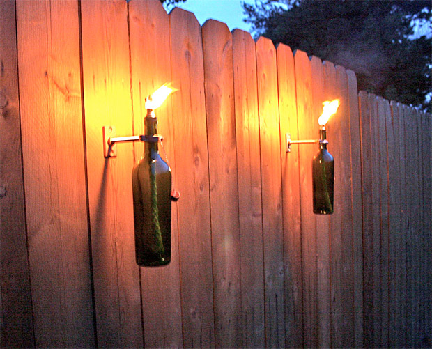 Wall Mounted Citronella Lamps : Eternalized, Objectified Wine Bottle Tiki Torches